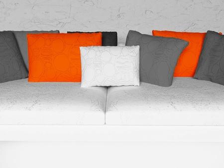 many nice pillows, orange and black, gray Stock Photo - 16658850