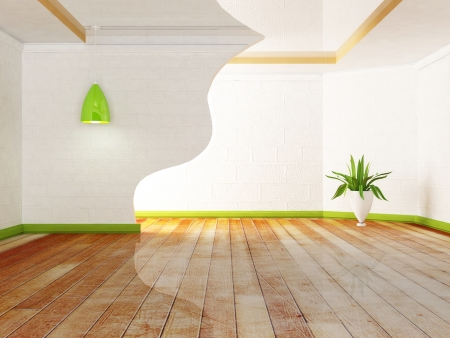 green plant and the lamps  in the room, rendering photo