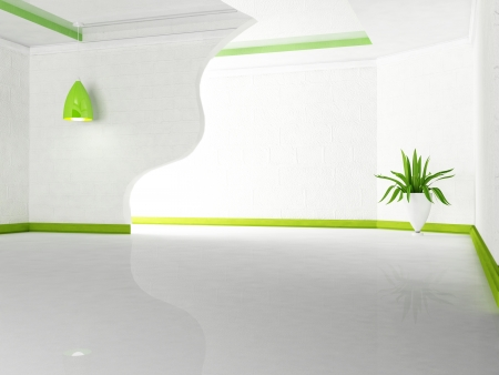 green plant and the lamp  in the room, rendering Stock Photo - 16658845