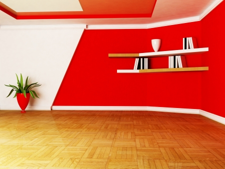 a room in white and red colors, rendering photo
