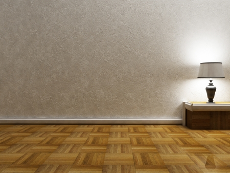 beautiful classic lamp in an empty room