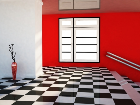 a room with a big window and the stairs, a vase Stock Photo - 16658843