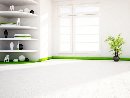 many shelves in the room and a green plant Stock Photo - 16658846