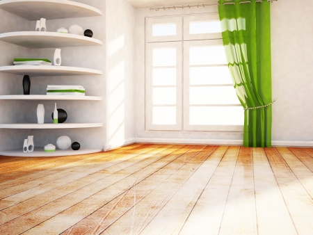 many shelves in the room and a window Stock Photo - 16658854