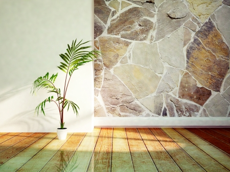 vase plaster: a green plant near stone wall, rendering Stock Photo