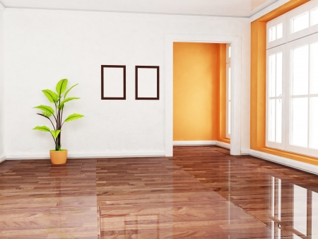 3d interior picture: a green plant in the empty room, rendering