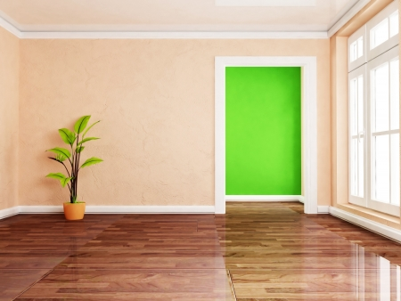 a green plant in the empty room, rendering