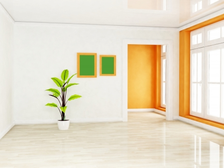a green plant in the empty room, rendering Stock Photo - 16709156