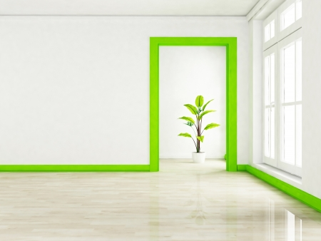 a green plant in the empty room near a window, rendering photo