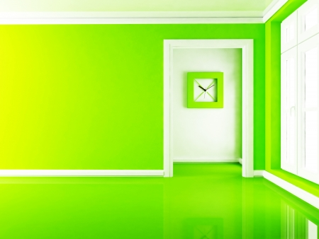 a clock in the empty room, rendering photo