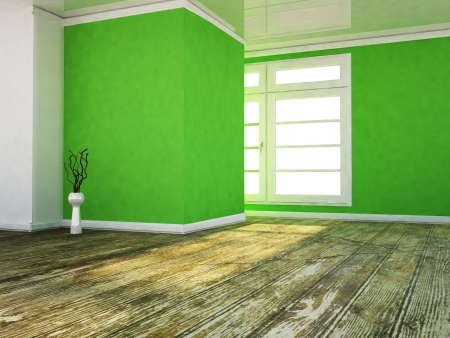 a room in the green colors, rendering photo