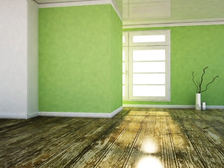vase plaster: a room in the green colors, rendering Stock Photo