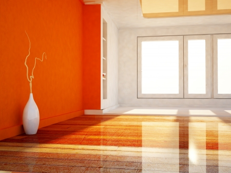 a white vase in the empty room, rendering photo