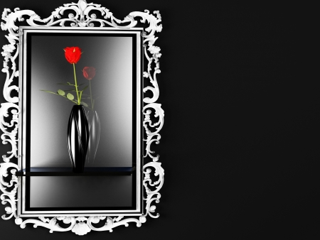 erotically: a red rose in the dark vase near the mirror Stock Photo
