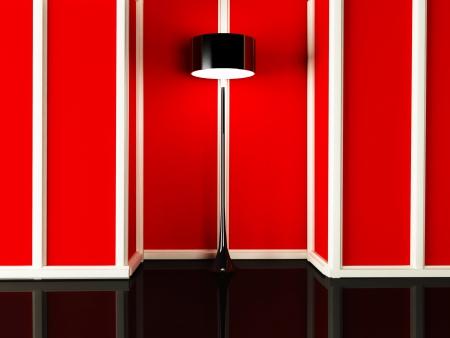 eroticism: elegant black floor lamp in the room