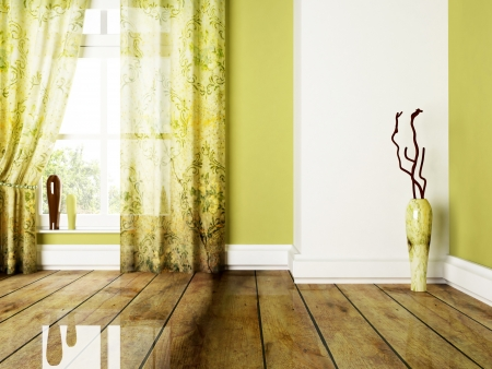curtain: beautiful room with a big window and the vases Stock Photo