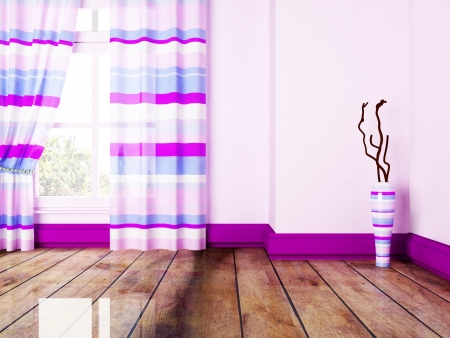beautiful room with a big window and a vase Stock Photo - 17358410
