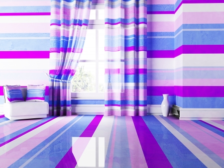 violet residential: bright interior with nice stripes, rendering Stock Photo