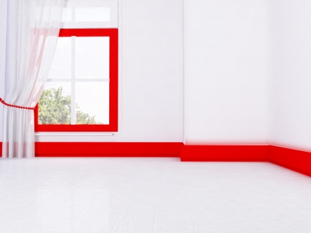 empty room in red and white colors, rendering photo
