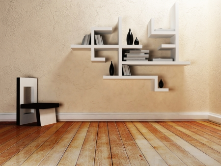 creative shelves on the wall, rendering Stock Photo - 17358464