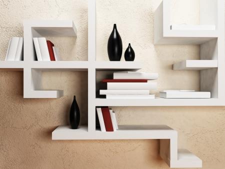 loft interior: creative shelves on the wall, rendering