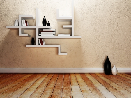 creative shelves on the wall, rendering stock photo, picture and