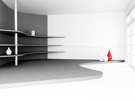 shelves with the vases on the wall, rendering photo