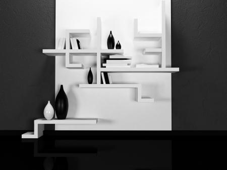 luxury hotel room: creative shelves on thedark  wall, rendering