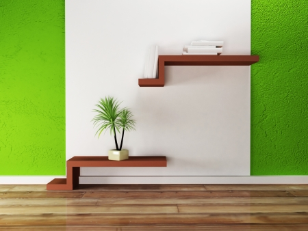 creative shelf on the wall and a palm, rendering photo