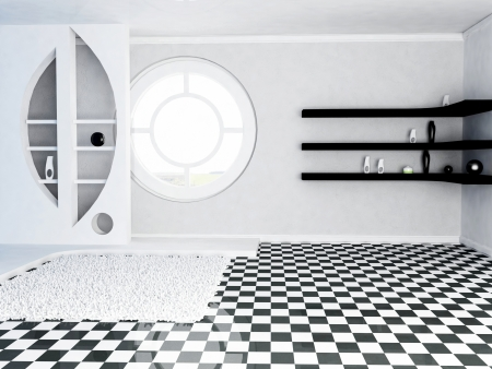 empty room with a decorative niche and the shelves, awindow photo