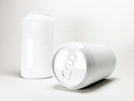 two white cans on a white background photo