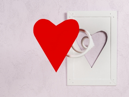 interesting picture on the wall for St. Valentine's Day Stock Photo - 17358409