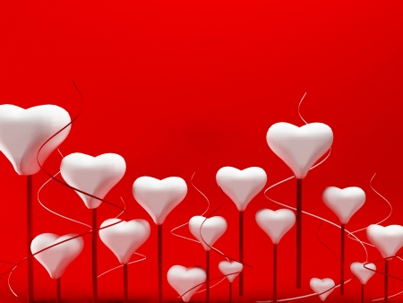 beautiful romantic background with many hearts , rendering Stock Photo - 17358377
