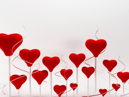 beautiful romantic background with many hearts , rendering Stock Photo - 17358381