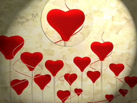 beautiful romantic background with many hearts , rendering Stock Photo - 17358442