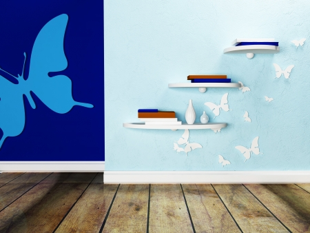 wall shelves and the interesting decor with many butterflies photo