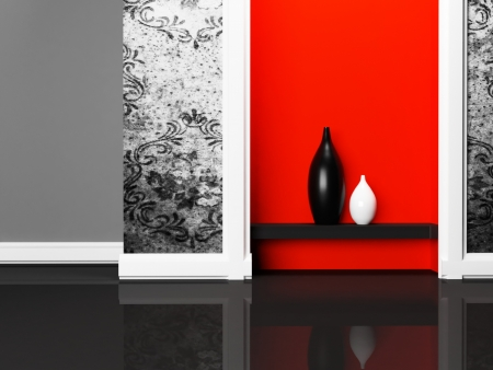 shiny floor: two nice vases on the shelf, rendering Stock Photo