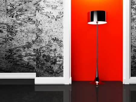 plinth: a black floor lamp in the empty room Stock Photo