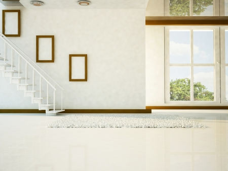 a bright room with the stairs and a big window
