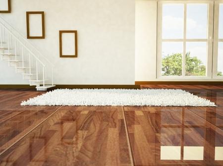 твердая древесина: Светлая комната с лестницей и большим окном Фото со стока