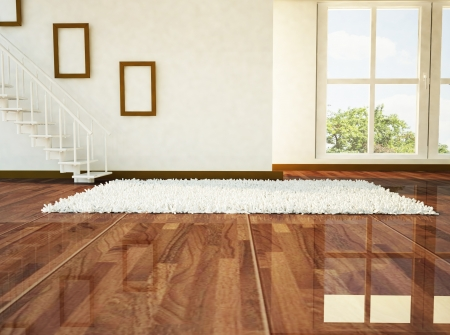 Carpet floor: a bright room with the stairs and a big window