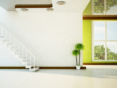 a bright room with the stairs, a plant, and a big window Standard-Bild