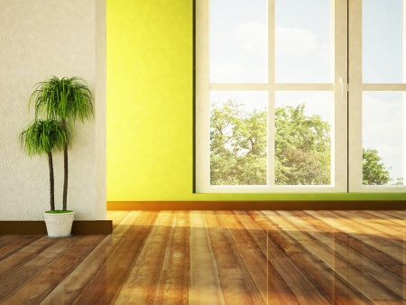 big window and a plant in the room
