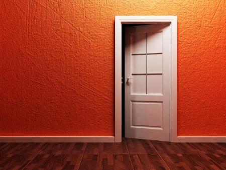 room access: White opened door in the empty room, rendering Stock Photo