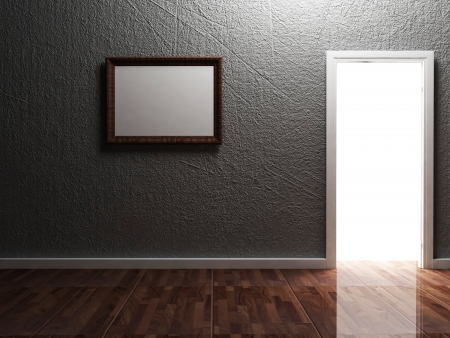 front room: bright doorway and the picture in the room Stock Photo