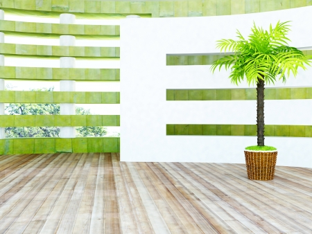 glass partition: green plant near the septum, rendering