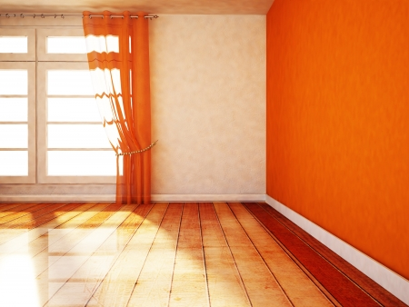 large office: empty room with a window in orange color