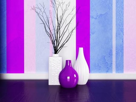 three vases on the floor near nice wall Stock Photo - 18764186