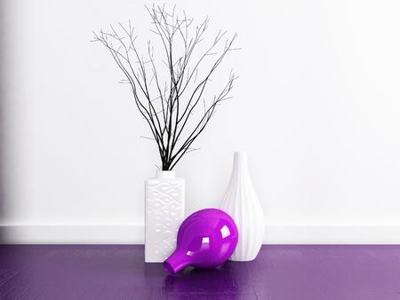 three vases on the floor near white wall Stock Photo - 18764148