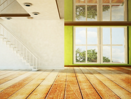 empty room with the stairs and a large window Stock Photo - 18764196